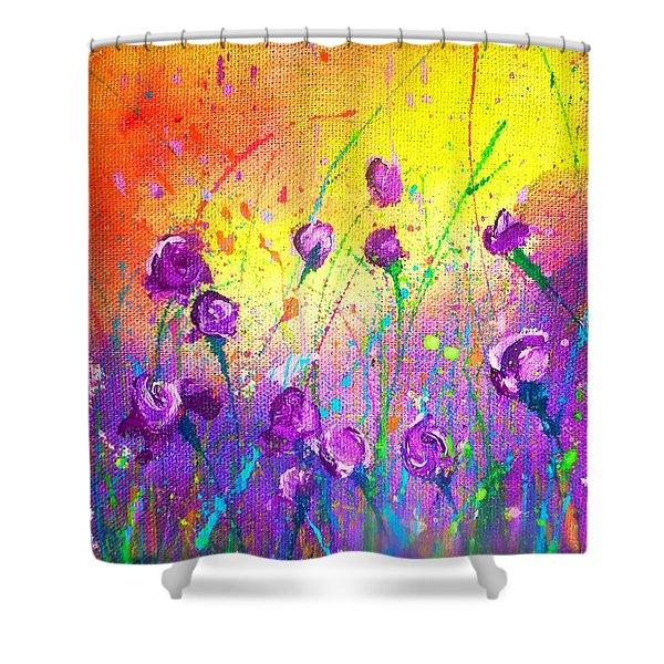 Purple Posies Shower Curtain