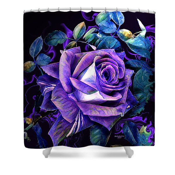 Purple Rose Bud Painting Shower Curtain