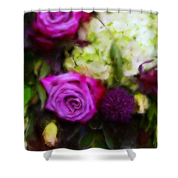 Purple Roses With Hydrangea Shower Curtain
