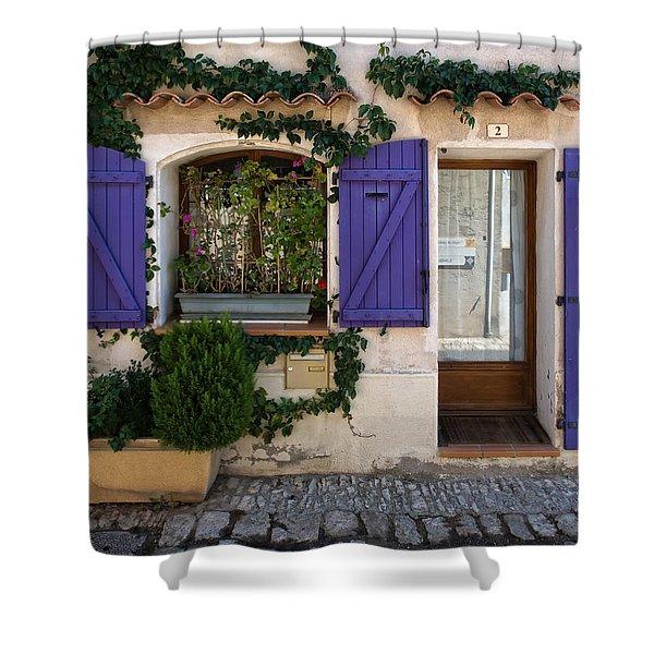 Purple Shutters Shower Curtain