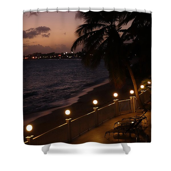 Purple Sunset In Saint Martin Shower Curtain