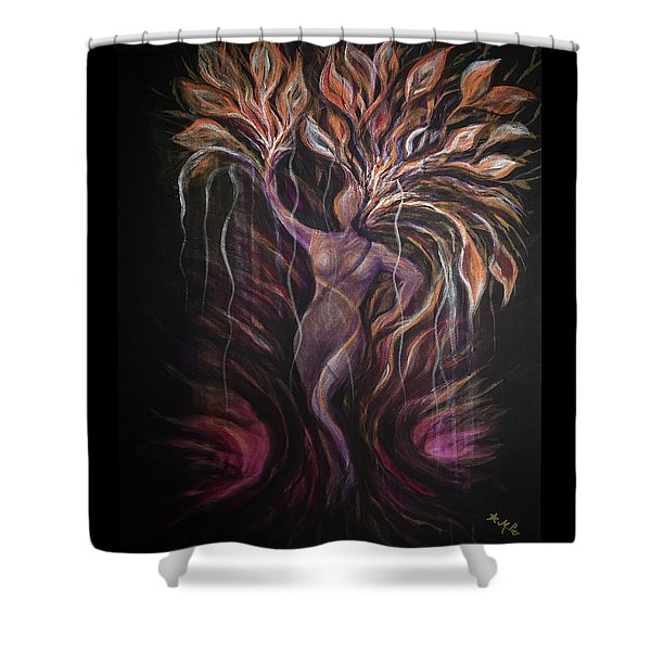 Purple Tree Goddess Shower Curtain