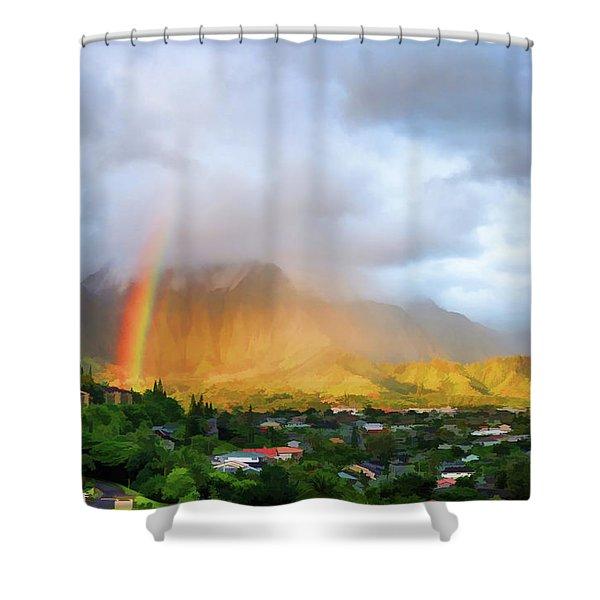 Puu Alii With Rainbow Shower Curtain