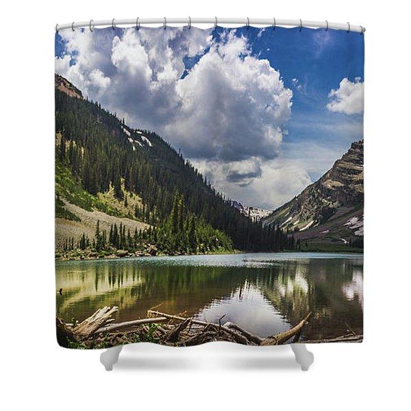 Pyramid Peak, Maroon Bells, And Crater Lake Panorama Shower Curtain