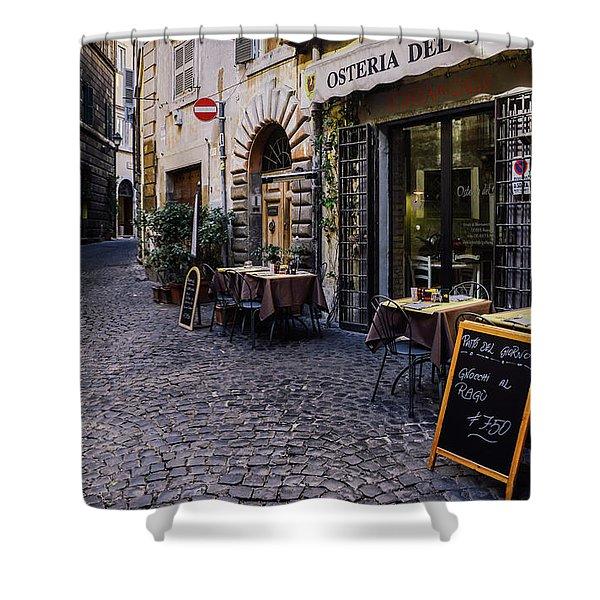 Quaint Cobblestones Streets In Rome, Italy Shower Curtain