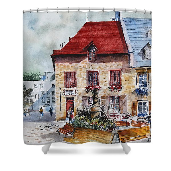 Quebec City Flower Boxes Shower Curtain
