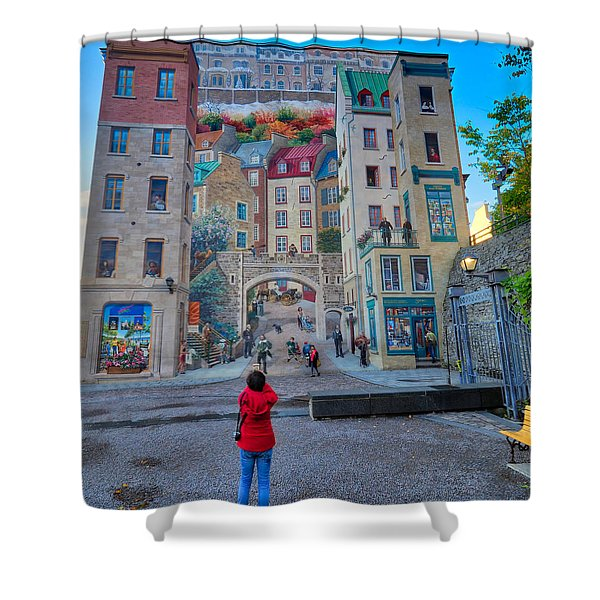 Quebec City Mural Shower Curtain