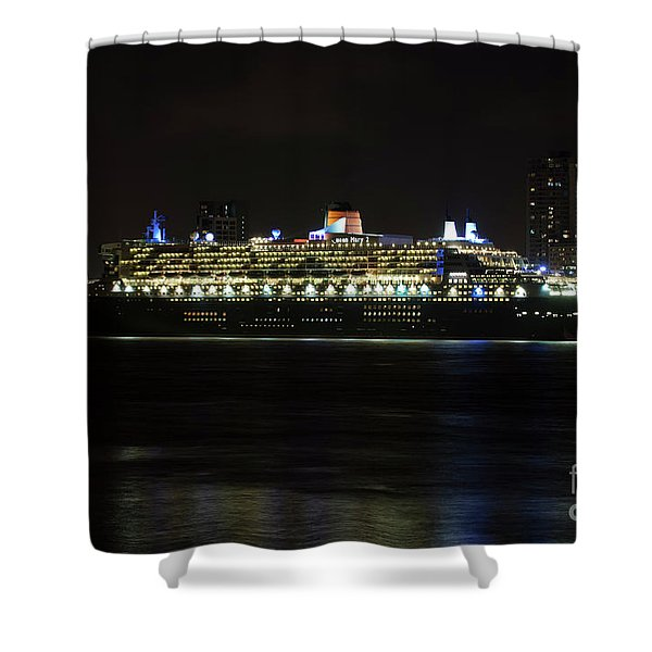 Queen Mary 2 At Night In Liverpool Shower Curtain