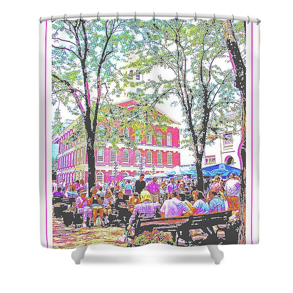 Quincy Market, Boston Massachusetts, Poster Image Shower Curtain