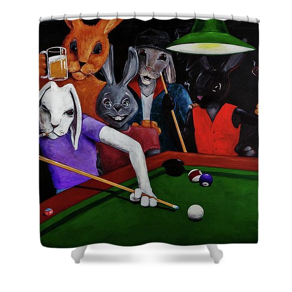 Rabbit Games Shower Curtain