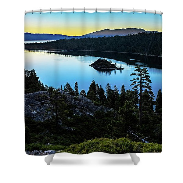 Radiant Sunrise On Emerald Bay Shower Curtain