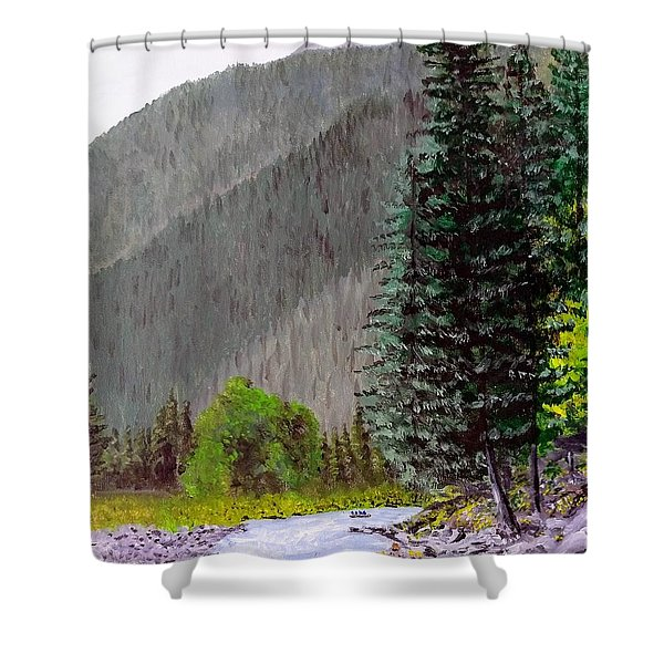 Shower Curtain featuring the painting Rafting The Gallatin by Kevin Daly
