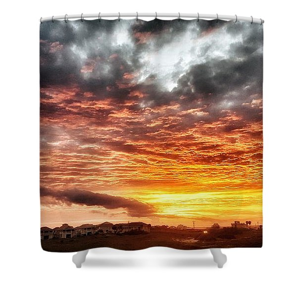 Raging Sunset Shower Curtain