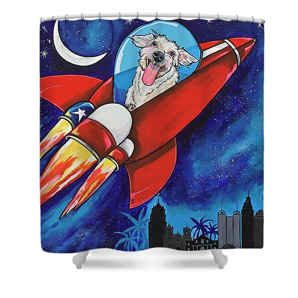Rags The Rocket Dog Shower Curtain