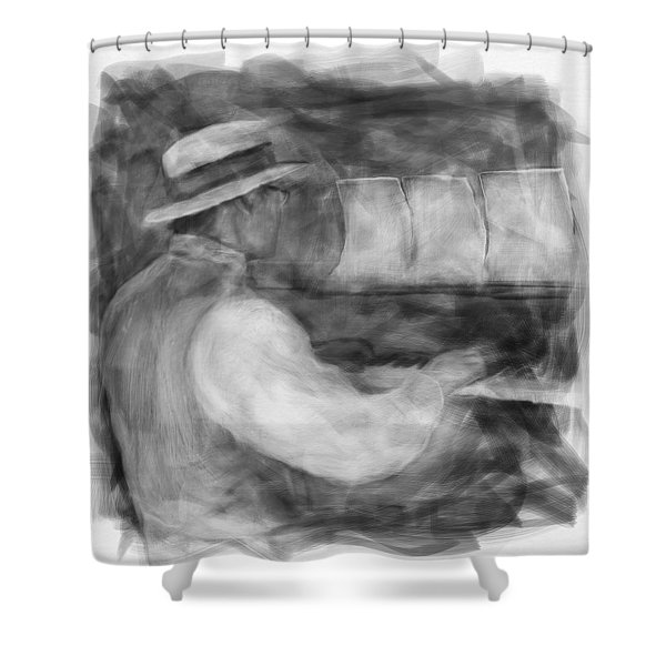 Ragtime Blues Shower Curtain