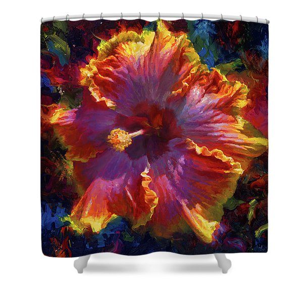 Rainbow Hibiscus Tropical Flower Wall Art Botanical Oil Painting Radiance  Shower Curtain