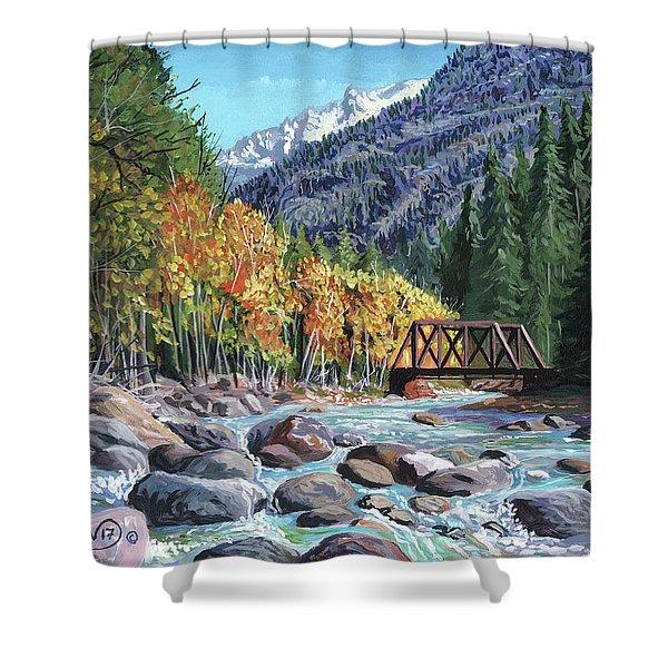 Rail Bridge At Cascade Shower Curtain