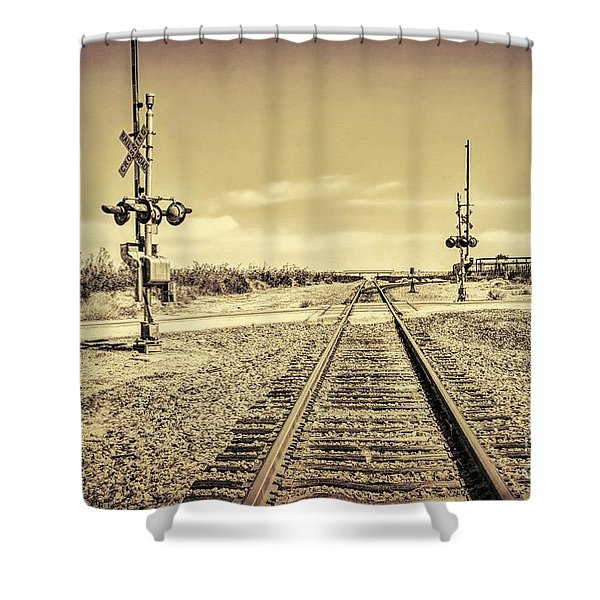 Railroad Crossing Textured Shower Curtain