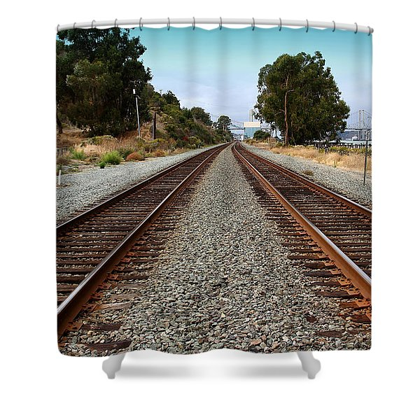 Railroad Tracks With The New Alfred Zampa Memorial Bridge And The Old Carquinez Bridge In Distance Shower Curtain by Wingsdomain Art and Photography