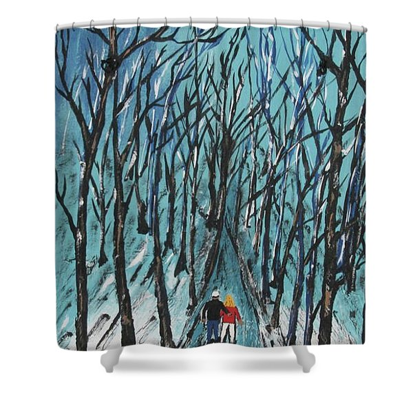 Rails To Trails  Painted On Black Slate Shower Curtain