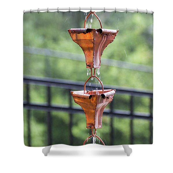 Shower Curtain featuring the photograph Rain Chains by D K Wall