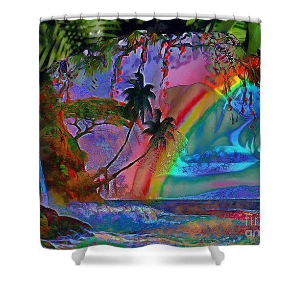 Rainboow Drenched In Layers Shower Curtain