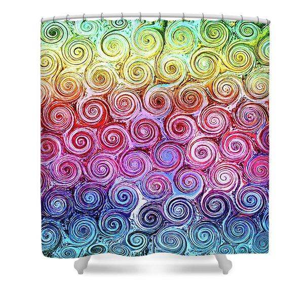 Rainbow Abstract Swirls Shower Curtain