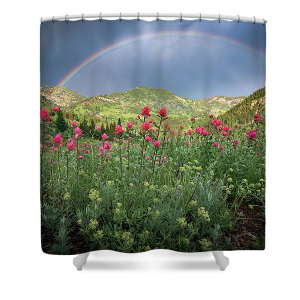 Rainbow And Wildflowers Shower Curtain