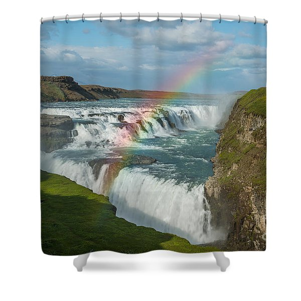 Rainbow At Gullfoss Iceland Shower Curtain