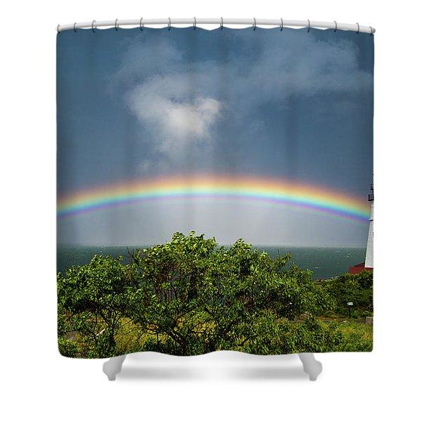 Rainbow At Portland Headlight Shower Curtain
