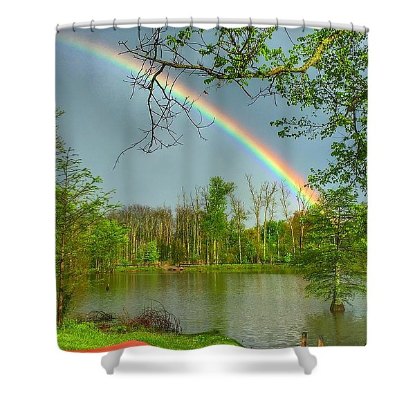 Rainbow At The Lake Shower Curtain