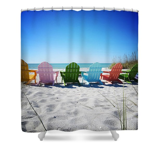 Rainbow Beach Vanilla Pop Shower Curtain