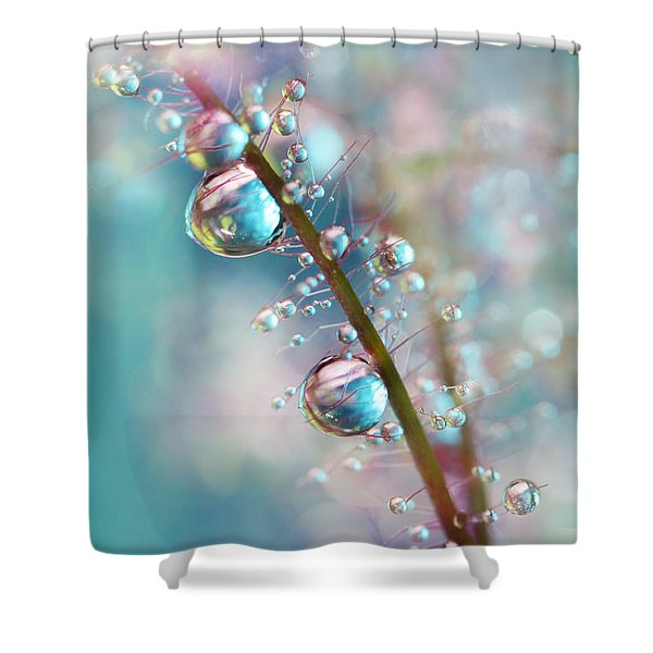 Rainbow Blue Smokey Drops Shower Curtain
