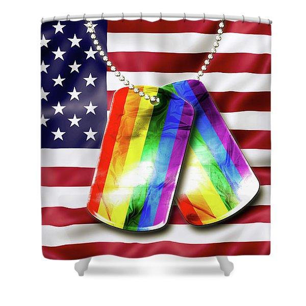 Rainbow Dog Tags Shower Curtain