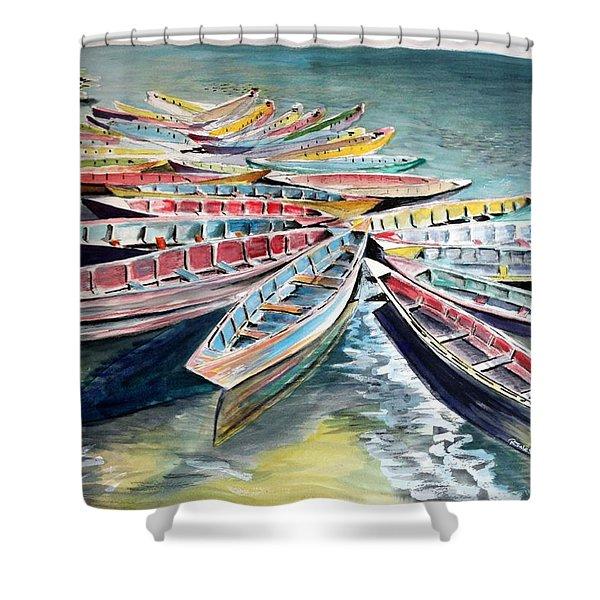 Rainbow Flotilla Shower Curtain