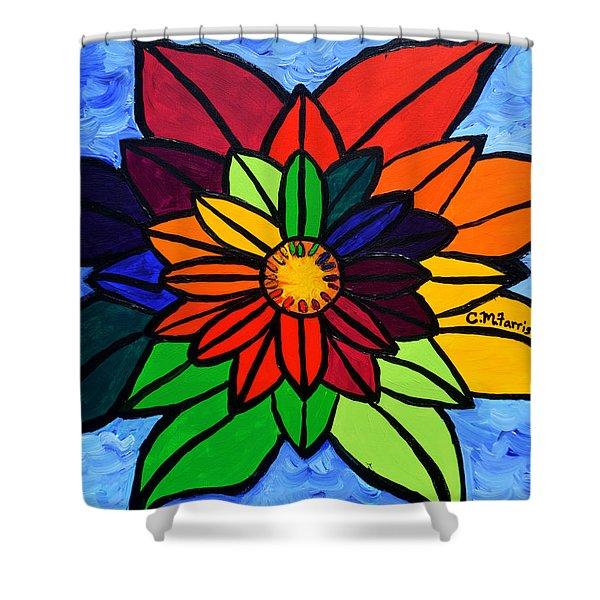 Rainbow Lotus Flower Shower Curtain