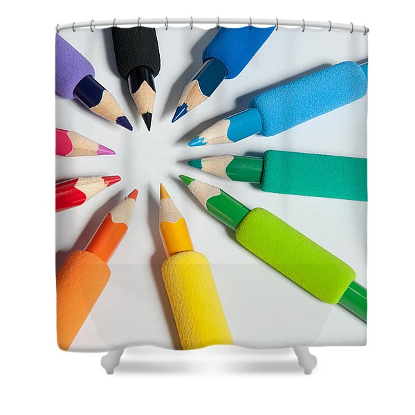 Rainbow Of Crayons Shower Curtain
