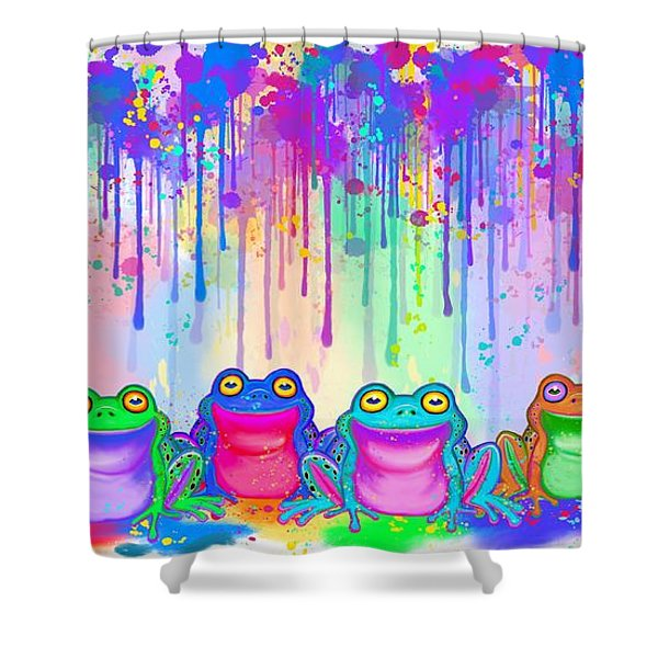 Rainbow Of Painted Frogs Shower Curtain