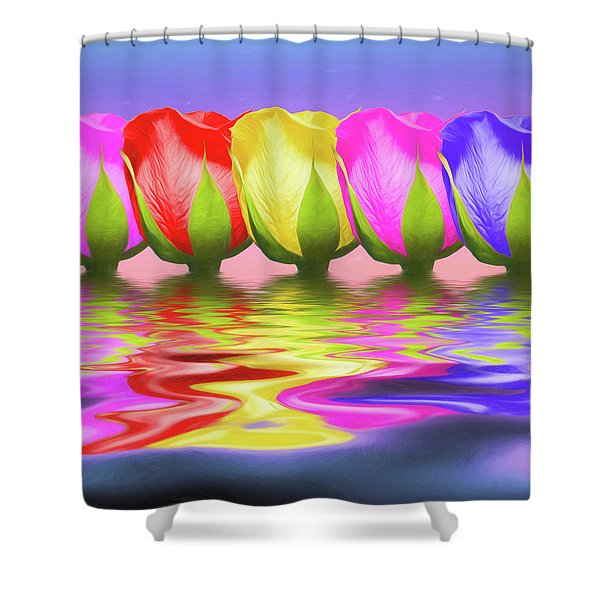 Rainbow Of Roses II Shower Curtain