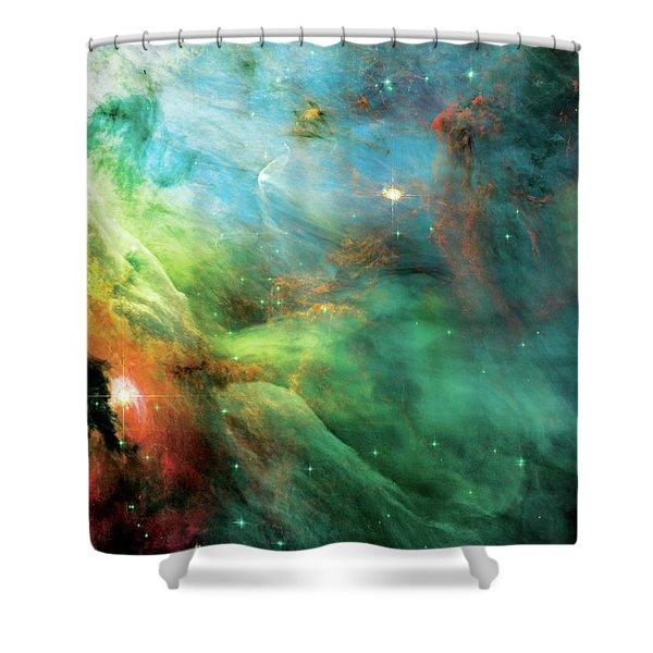 Rainbow Orion Nebula Shower Curtain