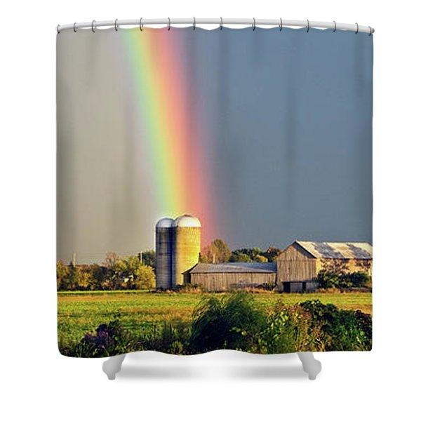 Rainbow Over Barn Silo Shower Curtain