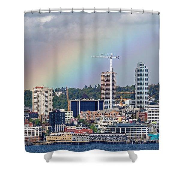 Rainbow Over Seattle Shower Curtain