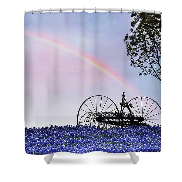 Rainbow Over Texas Bluebonnets Shower Curtain