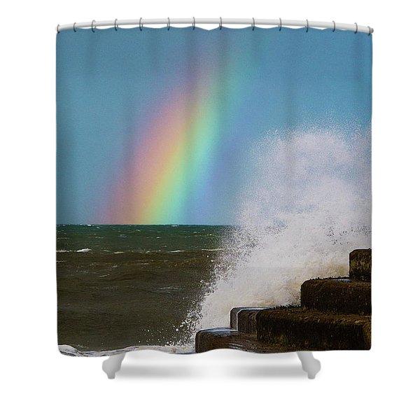 Rainbow Over The Crashing Waves Shower Curtain