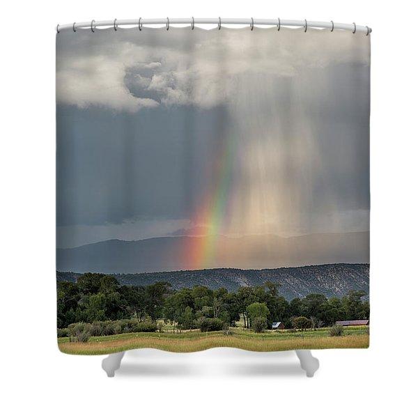 Rainbow Storm Over Log Hill Shower Curtain