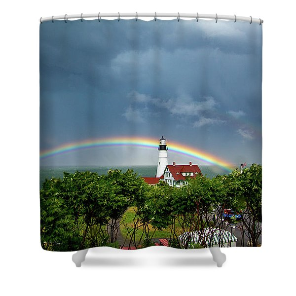 Rainbow X 2 At Portland Headlight Shower Curtain