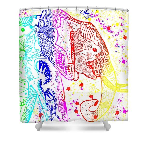 Rainbow Zentangle Elephant Shower Curtain