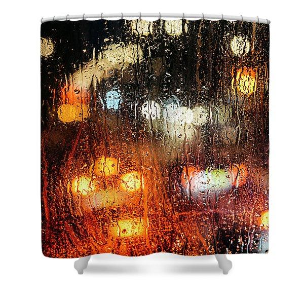 Raindrops On Street Window Shower Curtain
