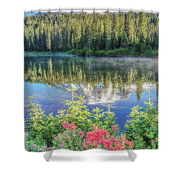 Rainier Wildflowers At Reflection Lake Shower Curtain
