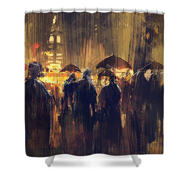 Shower Curtain featuring the painting Raining by Tithi Luadthong